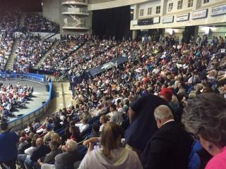 Fayetteville's Crown Coliseum was packed Wednesday night as Trump made his second North Carolina appearance this week.