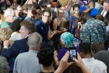 Hillary Clinton spoke at Hillside High School in Durham Thursday afternoon.