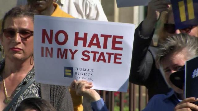 Several LGBT advocacy groups drop off petitions for the repeal of the controversial House Bill 2 at the State Capitol.
