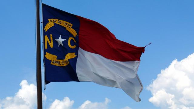 This is a picture of the North Carolina flag, although it's a bit tattered.
