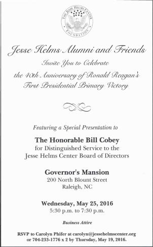 This is the invitation to a Jesse Helms Center event at the North Carolina Executive Mansion celebrating Ronald Reagan's 1976 primary victory in the state.