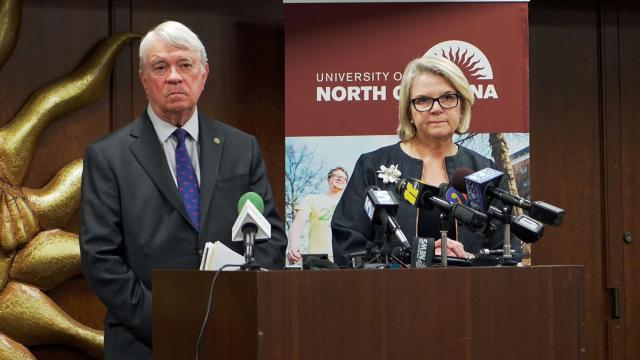 UNC Board of Governors Chairman Louis Bissette and UNC President Margaret Spellings answer questions about a federal lawsuit against the university system over House Bill 2 during a May 10, 2016, news conference.