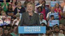IMAGE: Clinton outlines goals, jabs at Trump during Raleigh campaign rally