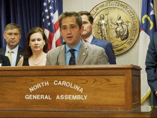 Rep. Chris Sgro, D-Guilford, speaks at a news conference on June 28, 2016 at the N.C. Genreal Assembly.
