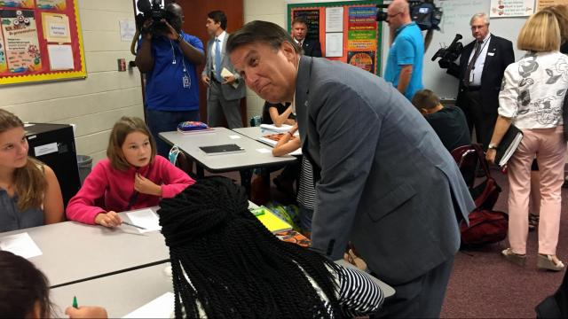Gov. Pat McCrory talks to students in Clayton.