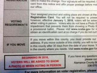 This is a mailing sent to a voter in Alamance County on Sept. 2, 2016.