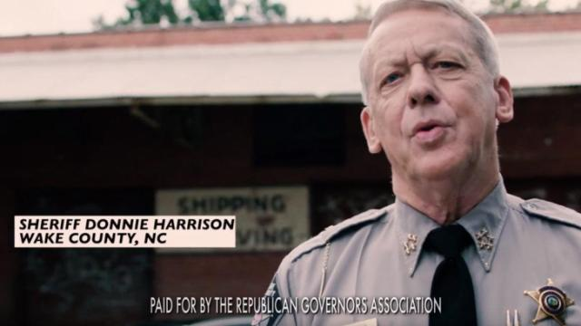 This is a still image of Wake County Donnie Harrison from a Republican Governors Association ad aired on behalf of Gov. Pat McCrory.