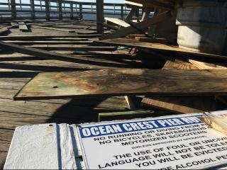 WRAL's Leyla Santiago reports Ocean Crest Pier still standing, but there is a lot of damage at the end.