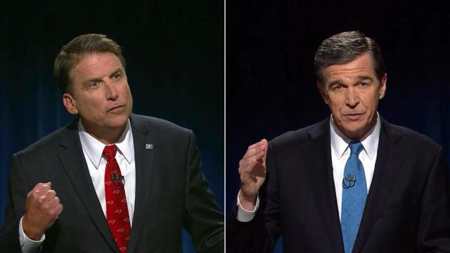 Gov. Pat McCrory, left, and Attorney General Roy Cooper debate the issues in the gubernatorial campaign on Oct. 11, 2016.