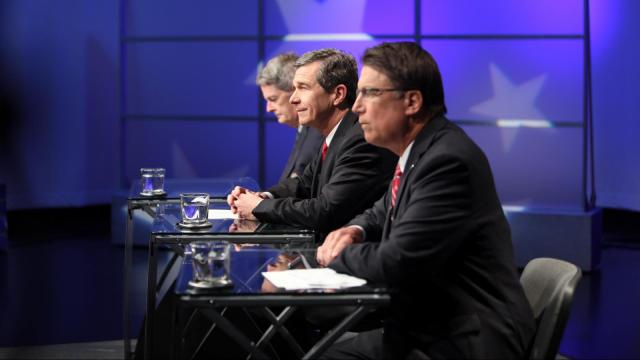 Republican Gov. Pat McCrory, Democratic Attorney General Roy Cooper and Libertarian Lon Cecil, right to left, engage in a gubernatorial debate at WRAL studios in Raleigh on Oct. 18, 2016. (Photo by Al Robinson/WRAL)