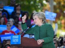 Hillary Clinton made a campaign stop at St. Augustine's University in Raleigh on Oct. 23, 2016.