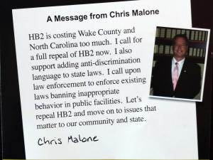 This is the back of a flier by Rep. Chris Malone on HB2.