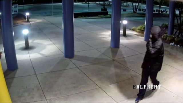 Authorities said a person was caught on camera breaking into the East Regional Branch Library, which serves as one of 10 one-stop voting sites in Cumberland County, and taking a coin machine. Security footage shows the person entered through a window and exited the polling area through a door that leads to the lobby and main library area, where the coin machine was.