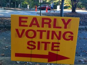 This is a picture of an early voting sign in Wake County (Lake Lynn).