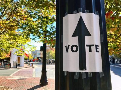 A voting sign in Durham, N.C., on Nov. 8, 2016.