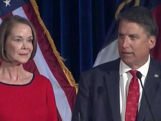 Gov. Pat McCrory and his wife, Ann, on Election Night 2016.