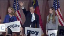 Cooper gives victory speech 4 weeks after election