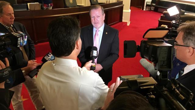 Senate President Pro Tempore Phil Berger, R-Rockingham, speaks to reporters.