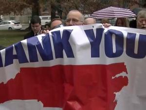 "NC electors marched singing ""God Bless America"" to cast their votes Monday for Donald J. Trump as the 45th president of the United States."