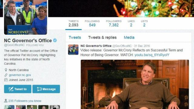 This is an image of the official account used by Gov. Pat McCrory.