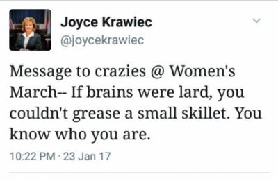 This is a social media posting (a Tweet) by Sen. Joyce Krawiec, R-Forsyth, that provoked pushback on Twitter.