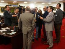 Sen. Phil Berger, R-Rockingham, speaks to reporters