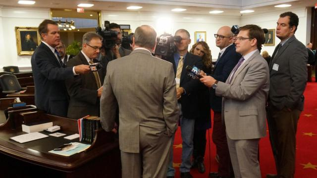 Sen. Phil Berger, R-Rockingham, speaks to reporters on the floor of the state Senate. Jan. 25, 2017.