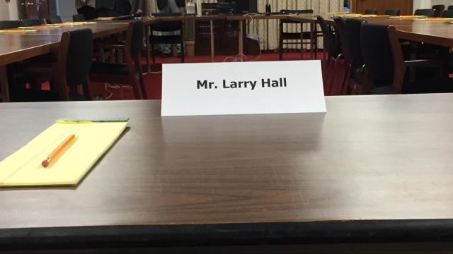 This was the seat prepared for former Rep. Larry Hall, D-Durham, to face a confirmation hearing Feb. 8, 2017.