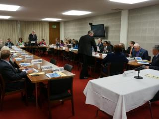 Members of the Senate Commerce Committee prepares to hear from Military and Veterans Affairs Sec. Larry Hall on Feb. 22, 2017. Hall did not show up.