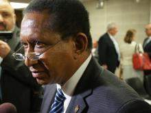 Sen. Flyod McKissick, D-Durham, talks to reporters after a confirmation hearing on Feb. 22, 2017.