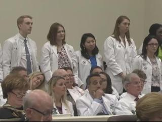 These are a group of ophthalmology residents opposed to House Bill 36, which would let optometrists preform more surgical procedures.