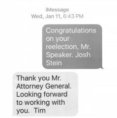 AG texts the Speaker