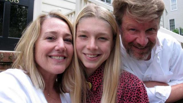 Hunter Schafer poses with parents Katy and Mac on the front porch of their Raleigh, N.C., home on Friday, May 13, 2016. The 17-year-old transgender youth is a plaintiff in a lawsuit against North Carolina's recently enacted House Bill 2.