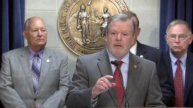 Senate President Pro Tem Phil Berger discusses the proposed 2017-18 state budget during a May 9, 2017, news conference.