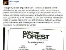 Hager post re Forest fundraiser