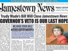Jamestown News HB 205 headline