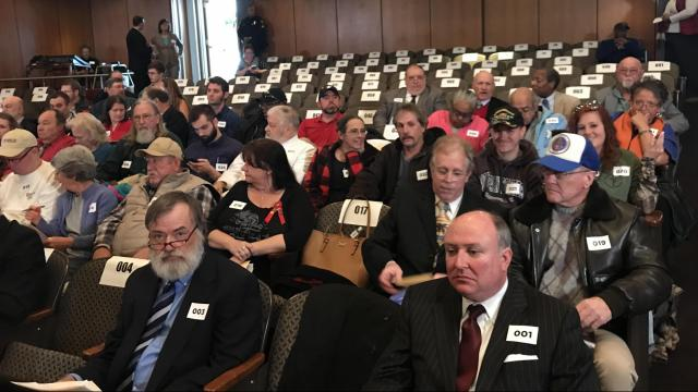 Attendance as Wednesday's public hearing on Confederate monuments begins.