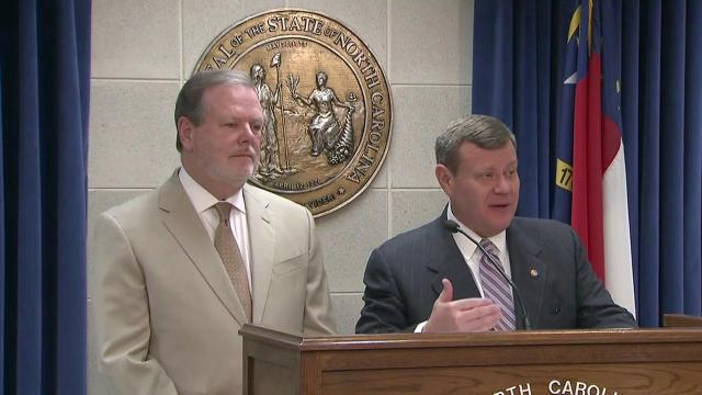 Senate President Pro Tem Phil Berger, left, and House Speaker Tim Moore