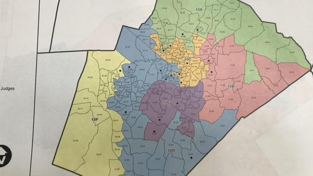 Proposed Wake County district court judicial districts as of June 1, 2018.