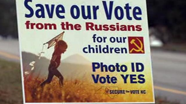Campaign sign by pro-voter ID group, November 2018
