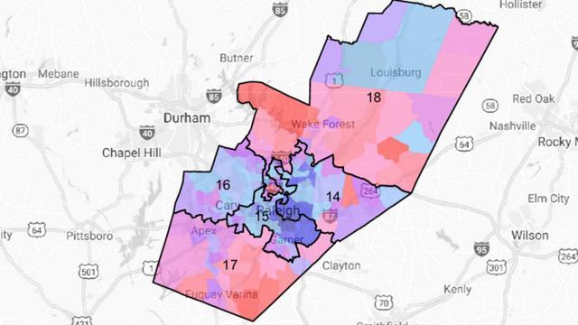 Partisan Wake County Senate map