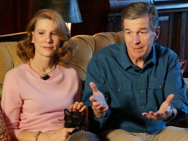 Kristen and Roy Cooper discuss their rescue and adoption of a stray kitten they discovered on the grounds of the governor's mansion. They named the tortoiseshell Jennyanydots - or Jenny - after a character from the play Cats (Chad Flowers/WRAL).