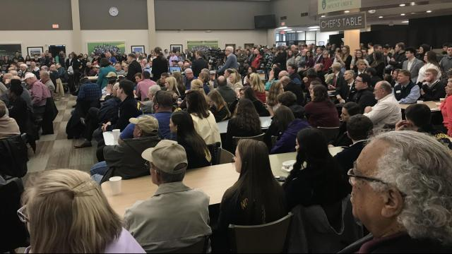 The crowd at Mount Olive Univesity Monday, Feb. 11, 2019, for a Q&A session with US Secretary of Agriculture Sonny Perdue