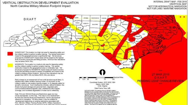 This map, which legislaitve sources said is not a final version, shows areas where wind farms would be prohibited so not to interfere with military training excercises if Senate Bill 377 passes.