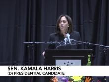 Democrat presidential hopeful Kamala Harris speaks in Durham