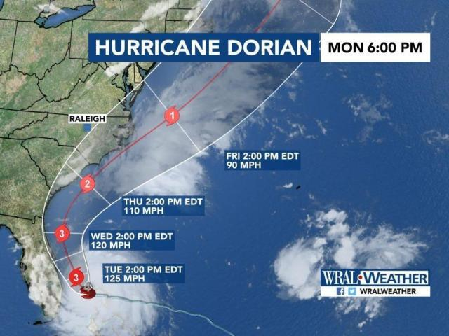 The latest Dorian track as of Monday at 6P.<br/>Web Editor: Alfred Charles