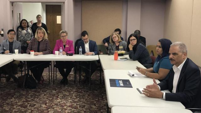 Former Attorney General Eric Holder met with left-leaning redistricting reform advocates in Raleigh Oct. 17, 2019.