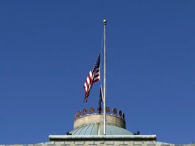 Flags were lowered to half-staff on the North Carolina Capitol in honor of former U.S. Sen. Kay Hagan.<br/>Photographer: Mark Stebnicki