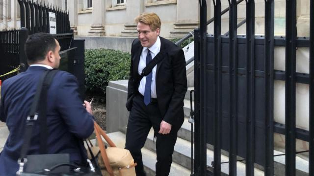 North Carolina's largest political donor, Greg Lindberg, leaves his federal bribery trial in Charlotte Feb. 26, 2020.