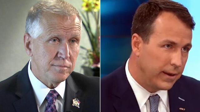 Republican U.S. Sen. Thom Tillis, left, and Democratic challenger Cal Cunningham